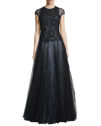 Cap-Sleeve Lace Ball Gown, Black
