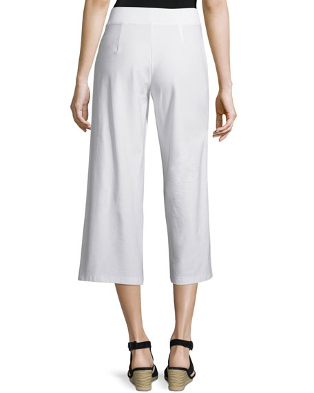 Wide-Leg Washable-Crepe Cropped Pants, Plus Size