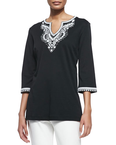 3/4-Sleeve Embroidered Tunic, Women's