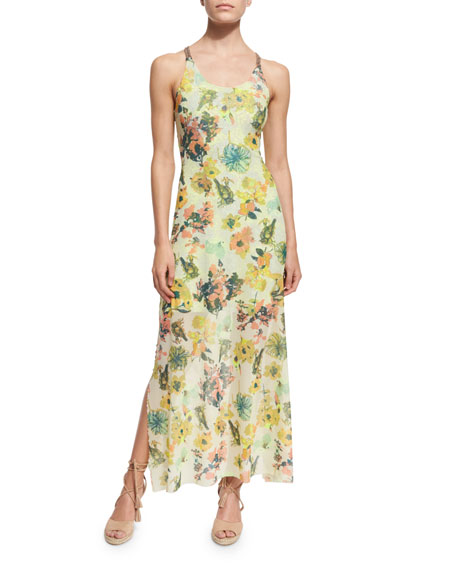 Maaji Floral-Printed Strappy-Back Long Dress