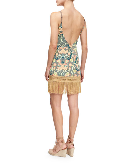 Hippie Printed Fringe-Trim Short Dress