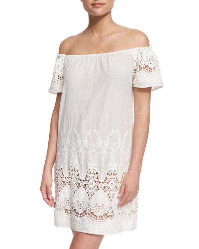Flower Girl Embroidered-Lace Woven Coverup Dress
