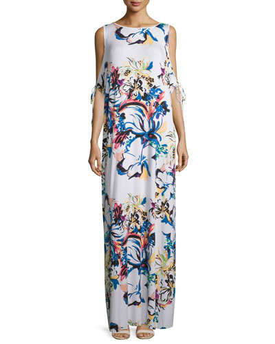Sleeveless Cold-Shoulder Printed Maxi Dress, Botanical, Plus Size