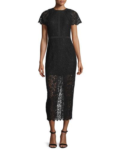 Short-Sleeve Lace Overlay Midi Dress, Black