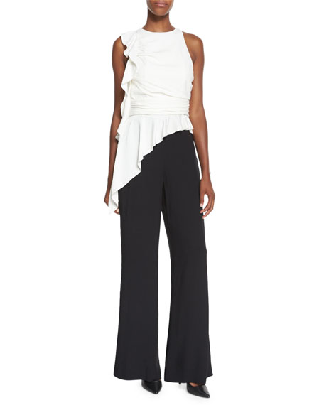 Sleeveless Peplum Colorblock Jumpsuit, Ecru/Black