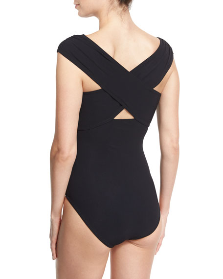 Wrap-Front Solid One-Piece Swimsuit