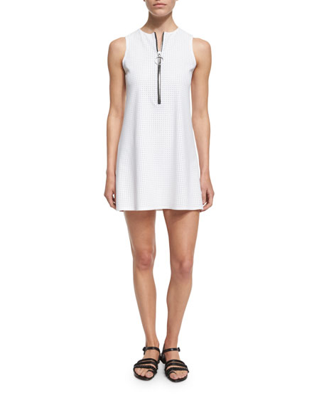 Karla Colletto Punchout Sport Perforated Zip-Front Dress
