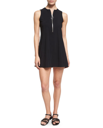 Ring Zip Round-Neck Dress, Black