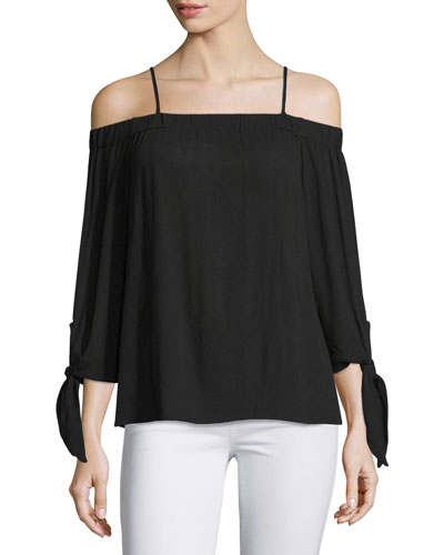 Isabella Cold-Shoulder Top, Black