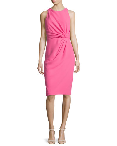 Sleeveless Pleated-Front Sheath Dress, Hot Pink