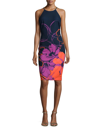 Halter-Neck Floral Sheath Dress, Navy/Mtuli