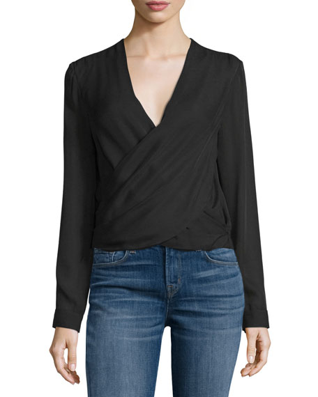 L'Agence Gia Long-Sleeve Silk Wrap Blouse, Black