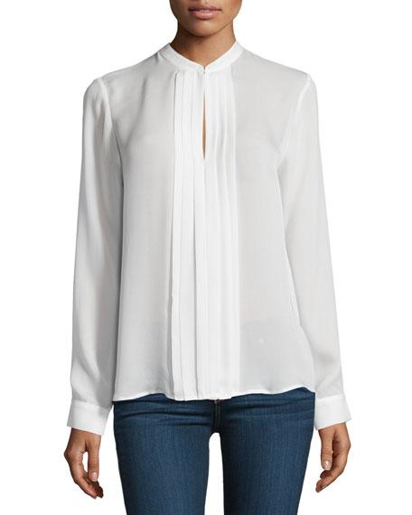 L'Agence Lauren Long-Sleeve Pleated Silk Blouse, Ivory