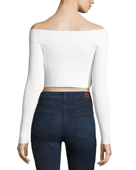 Life is Real Off-the-Shoulder Crop Top, White