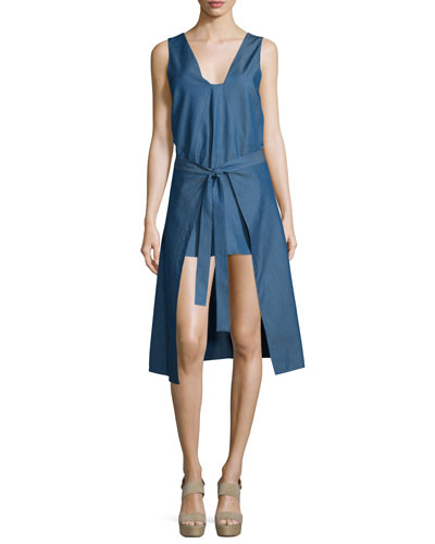 All Day Tie-Front Denim Dress, Denim