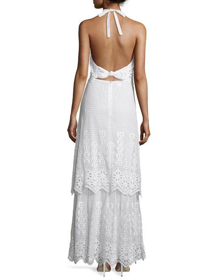 Edna Crocheted-Lace Halter Maxi Dress