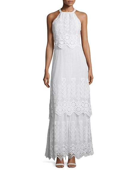 Miguelina Edna Crocheted-Lace Halter Maxi Dress