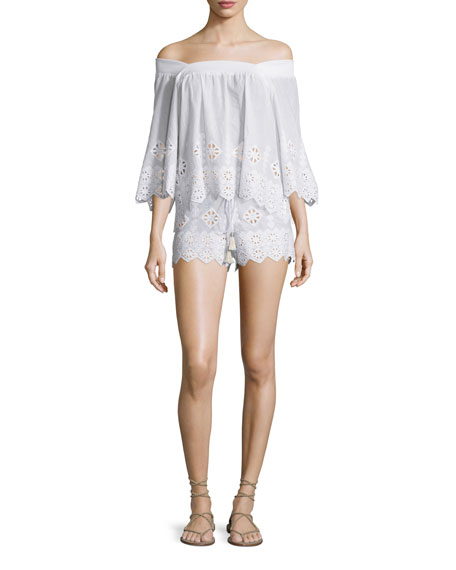 Brenna Geometric-Embroidered Top, Pure White
