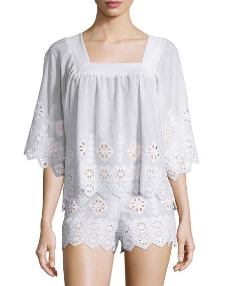 Miguelina Brenna Geometric-Embroidered Top, Pure White & Minnie