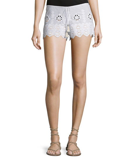 Miguelina Minnie Geometric-Embroidered Shorts, Pure White