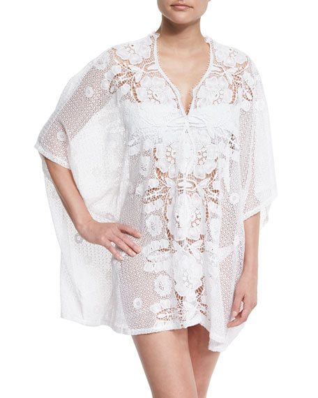 Miguelina Kara Hibiscus Netted-Lace Caftan Coverup