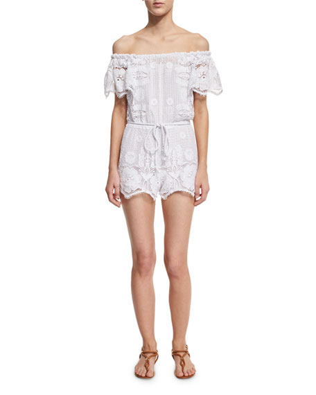 Bia Off-the-Shoulder Lace Romper Coverup