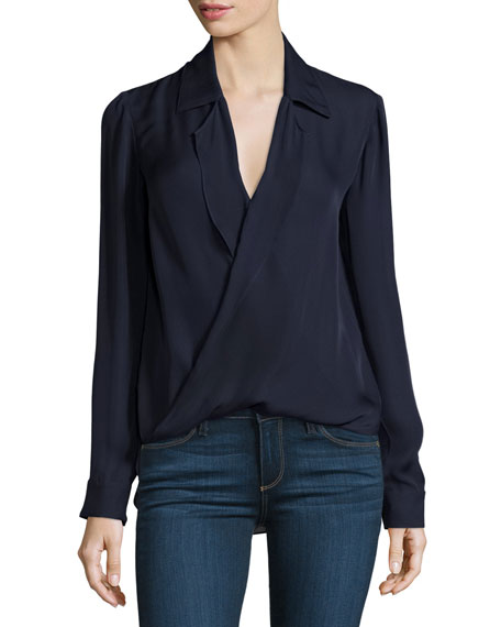 L'Agence Rita Collared Silk Blouson Top, Midnight