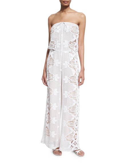 Miguelina Piper Strapless Lace Jumpsuit Coverup, Pure White