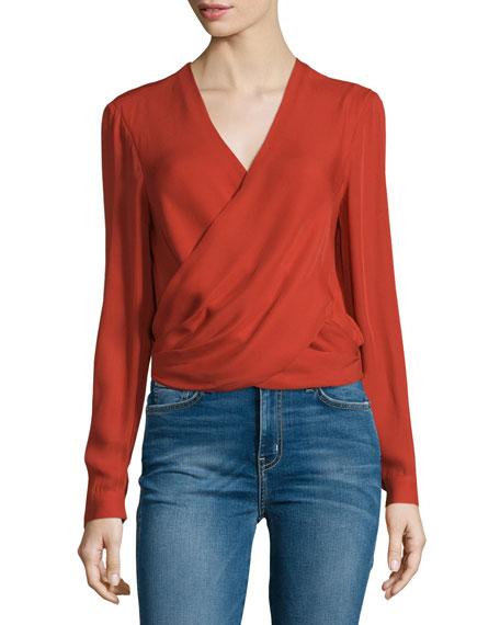 Gia Long-Sleeve Silk Wrap Blouse, Harissa