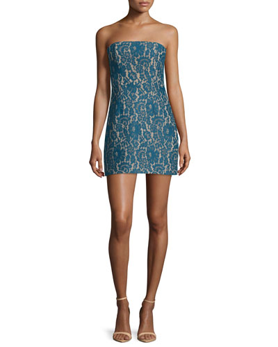 Every Way Strapless Lace Mini Dress, Teal
