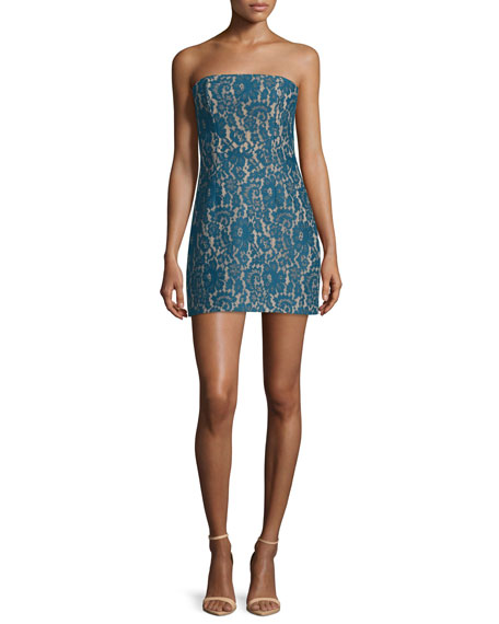 Keepsake Every Way Strapless Lace Mini Dress, Teal