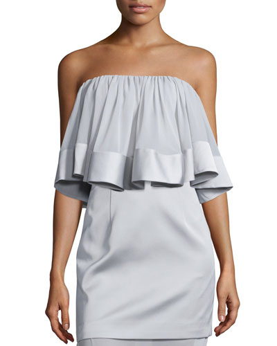 Not-To-Be Ruffled Crop Top, Gray