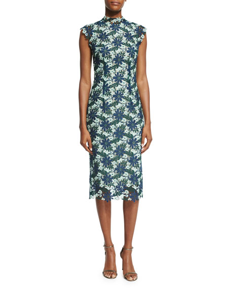 Monique Lhuillier Cap-Sleeve Tricolor Lace Dress, Navy