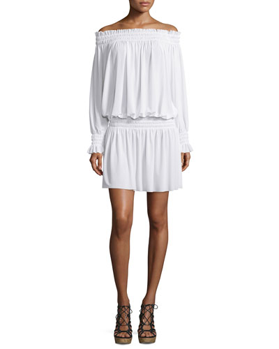 Long-Sleeve Off-the-Shoulder Peasant Dress, White