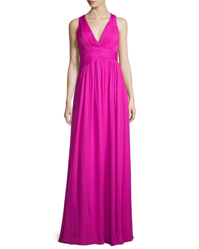 Sleeveless V-Neck Draped Chiffon Gown
