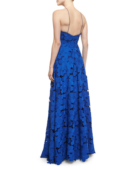 Floral-Lace Sleeveless Halter Gown, Royal Blue