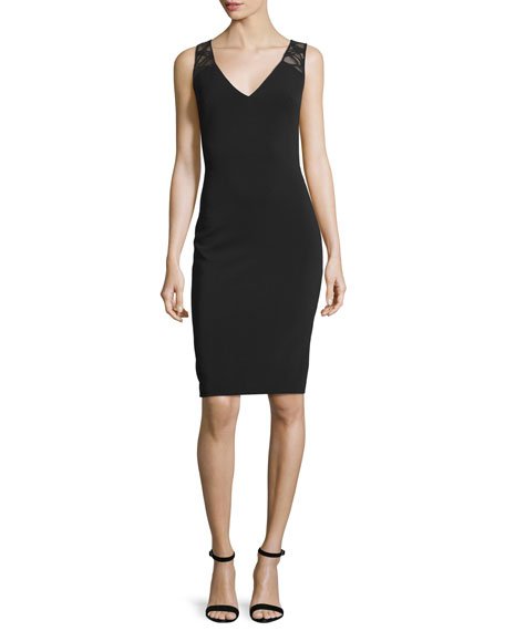 Badgley Mischka Sleeveless Cocktail Dress W/Lattice Insets, Black