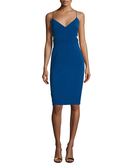 Badgley Mischka Sleeveless V-Neck Cutout Sheath Dress
