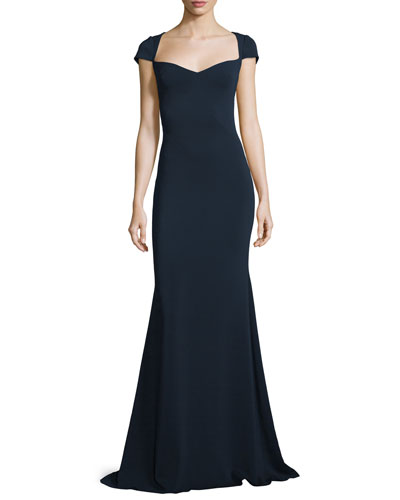 Cap-Sleeve Sweetheart Column Gown, Navy