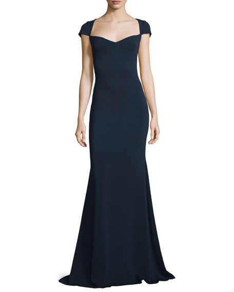 Badgley Mischka Cap-Sleeve Sweetheart Column Gown, Navy