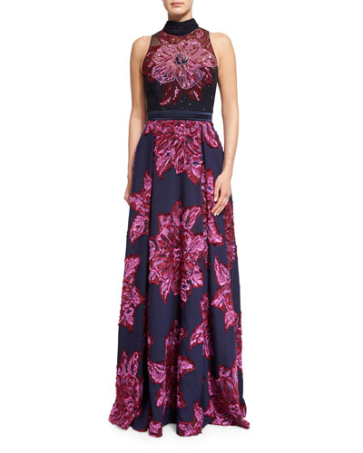 Sleeveless Mock-Neck Embellished Floral Gown, Navy Multi
