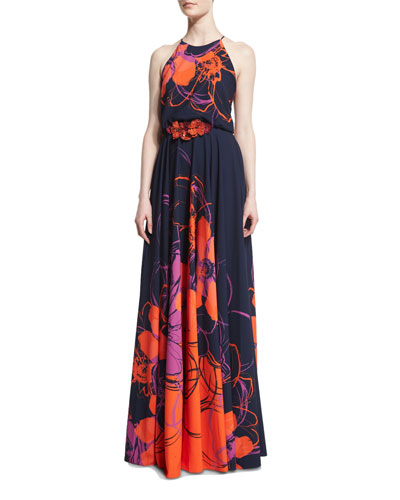 Floral-Print Halter Gown w/Beaded Applique