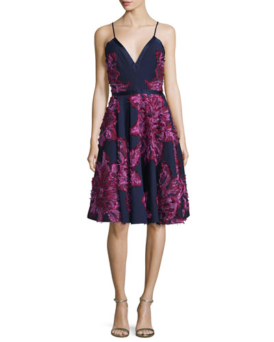 Sleeveless Chiffon Dress W/Embellished Flowers, Navy Multi