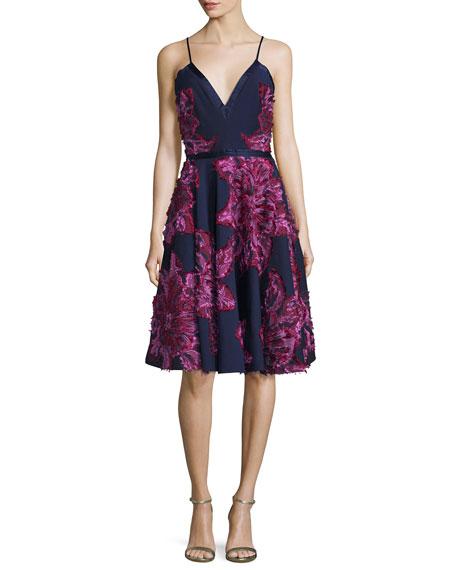Badgley Mischka Sleeveless Chiffon Dress W/Embellished Flowers,