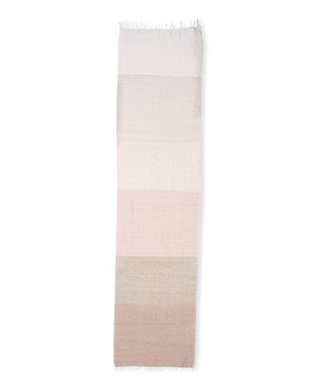 Hand-Loomed Mix-Striped Scarf W/Fringe, Opal