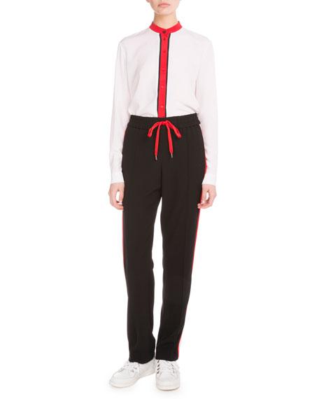 Crepe-Back Satin Side-Stripe Pants, Black