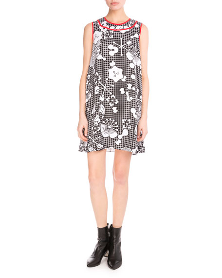 Kenzo Tanami Flower Sleeveless Shift Dress, Black