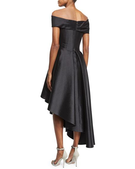 Off-The-Shoulder Asymmetric-Hem Dress, Black