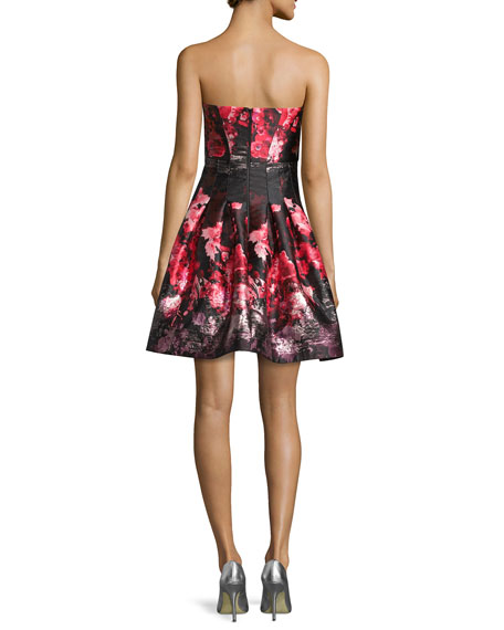 Strapless Floral-Print Party Dress, Pink/Black