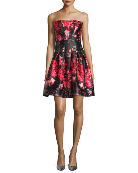 Rubin SingerStrapless Floral-Print Party Dress, Pink/Black